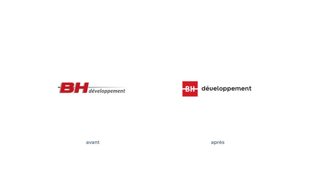 Logo BH développement avant/après