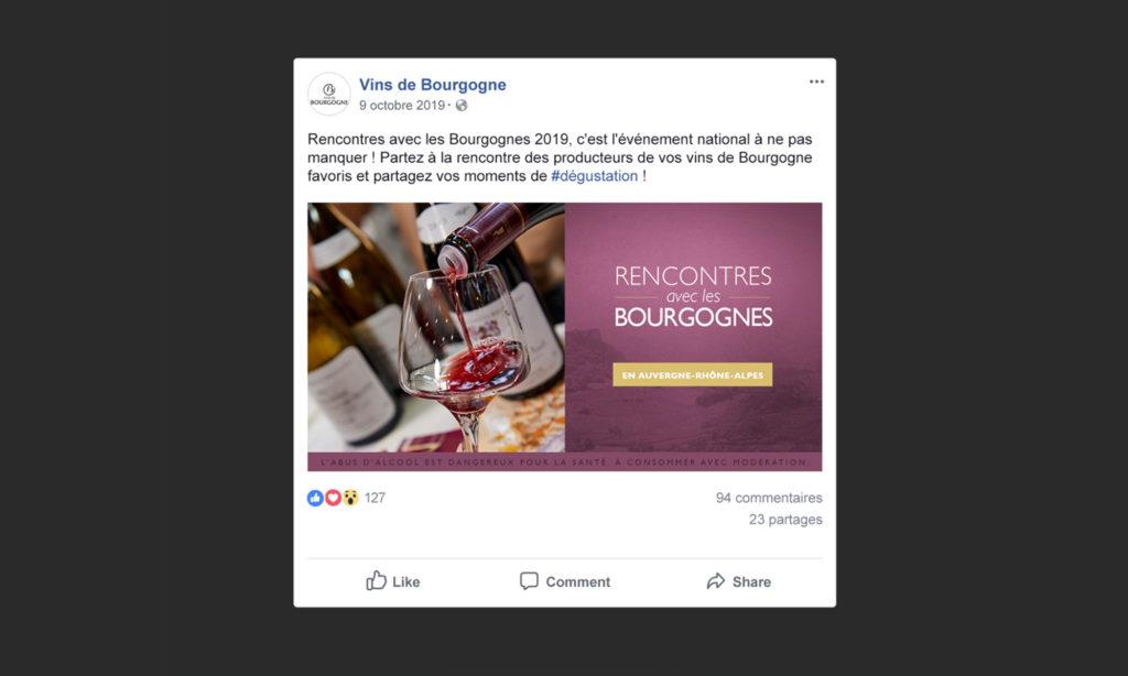 Aperçu d'un post Facebook Rencontres avec les Bourgognes