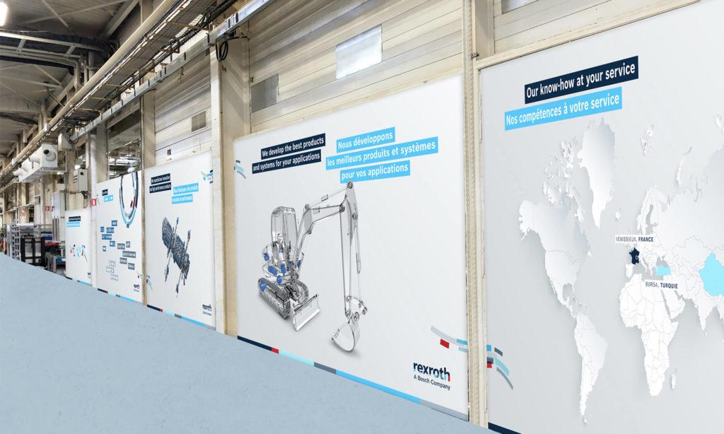 Bâches présentes au sein des locaux Bosch Expertise à Vénissieux