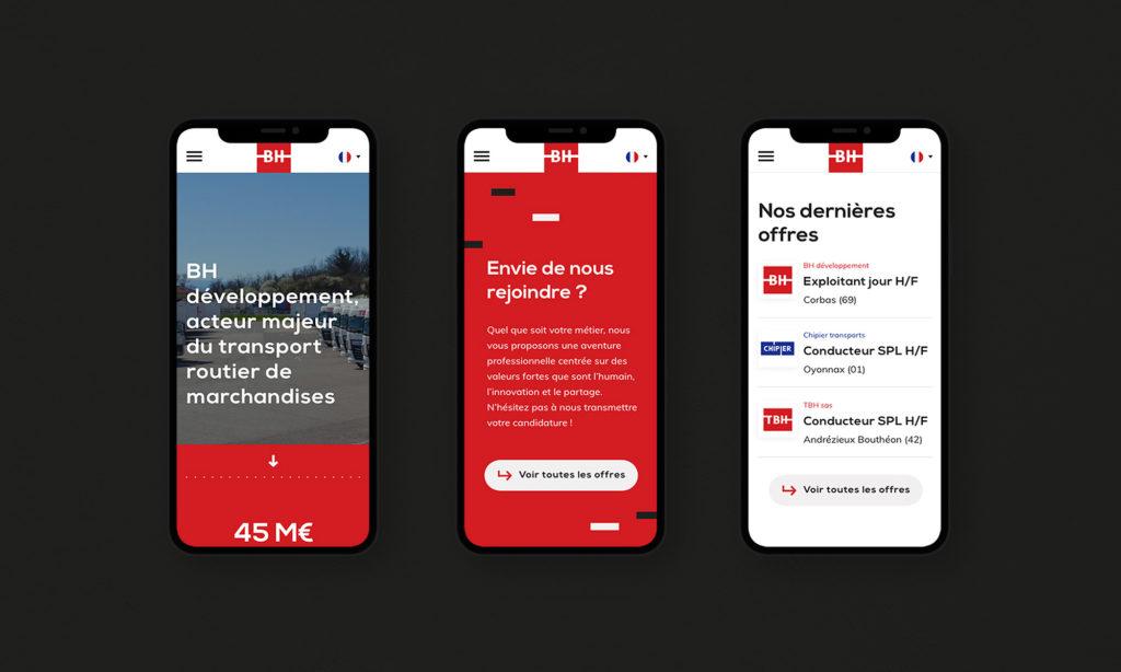 Version mobile du site BH développement
