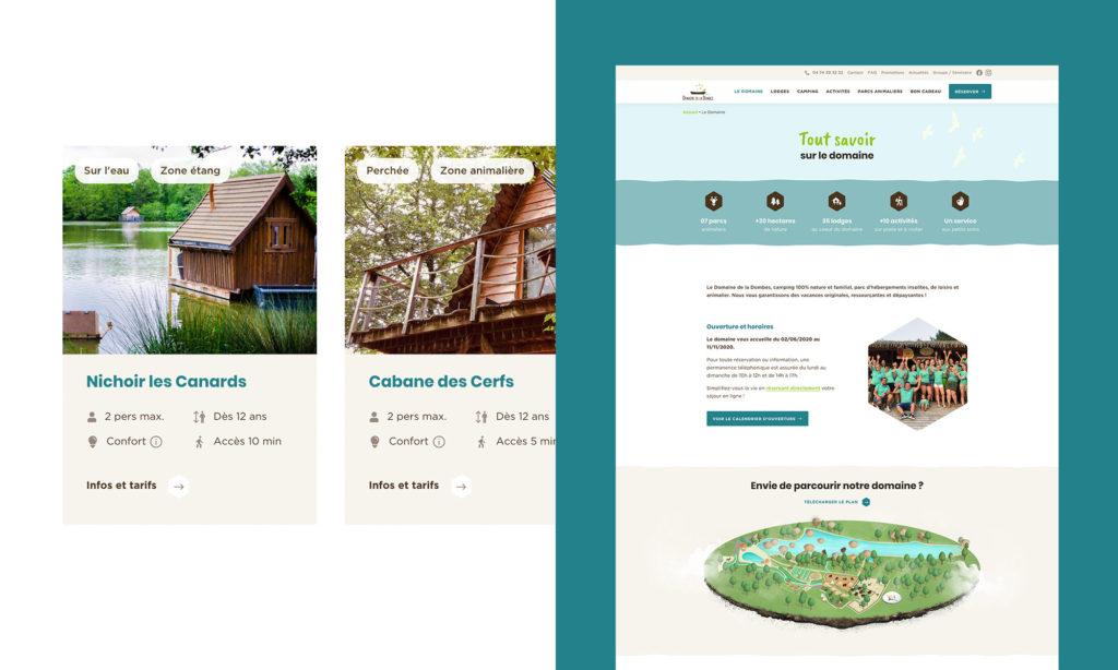 Aperçu des cartes lodges et de la page Le Domaine - Site Domaine de la Dombes