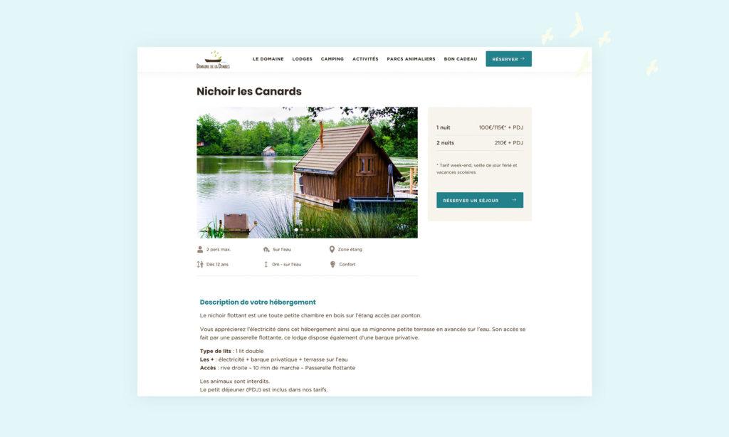 Zoom sur une page lodge site Domaine de la Dombes