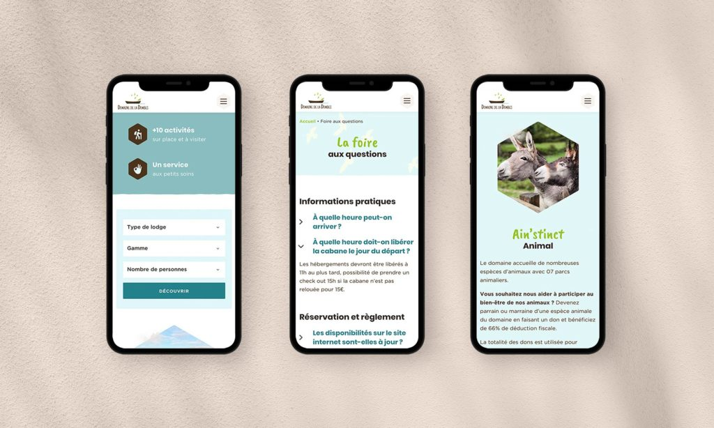 Vues mobile du site Domaine de la Dombes