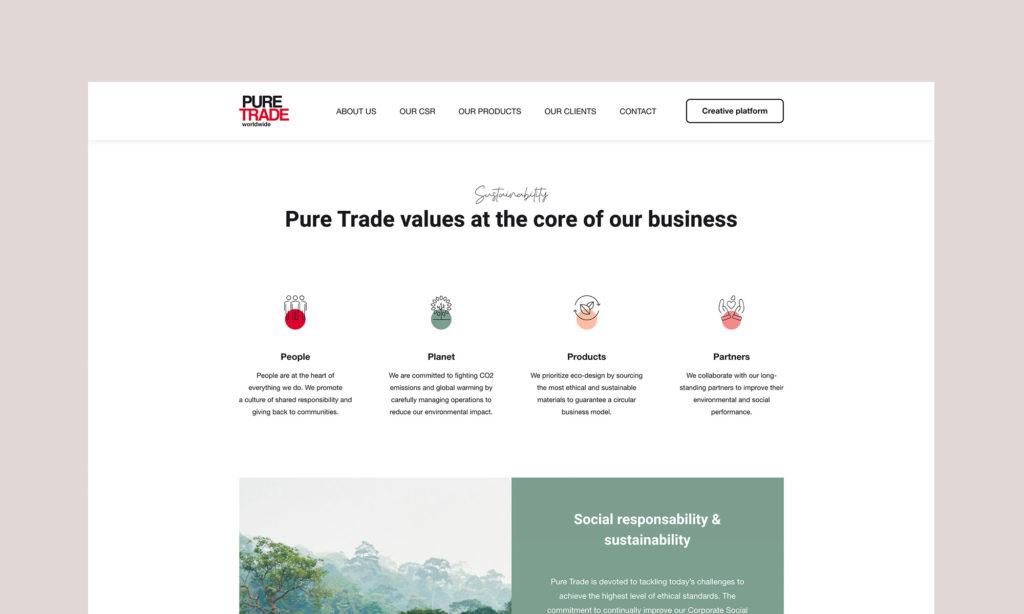 Aperçu des valeurs de Pure Trade