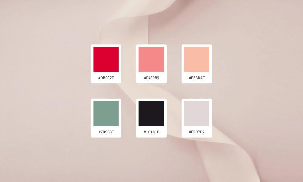 Palette de couleurs du site Pure Trade