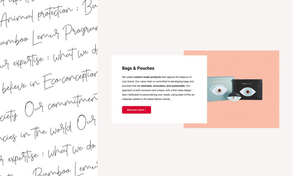 Zoom sur la typographie + bloc produit Pure Trade
