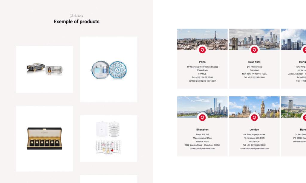 Zoom sur certains éléments du site Pure Trade