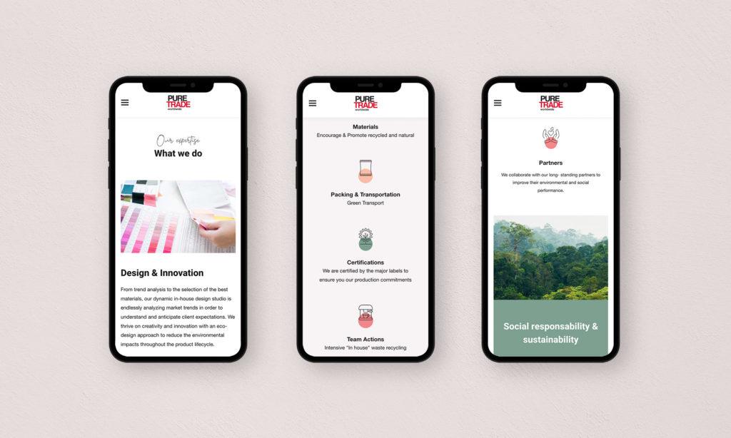 Vues mobile du site Pure Trade
