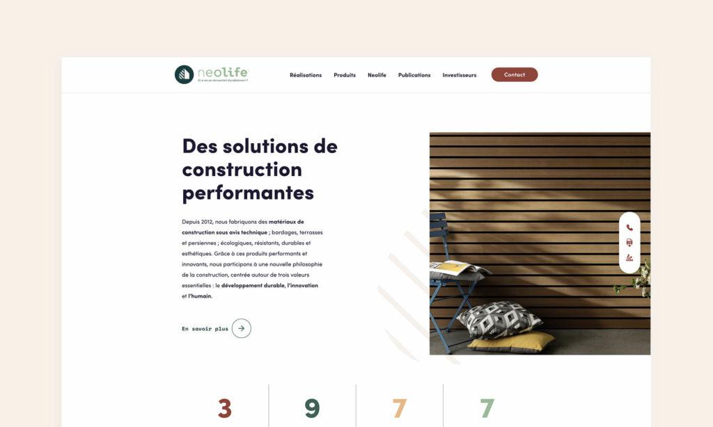 Site Neolife - présentation des solutions de construction performantes