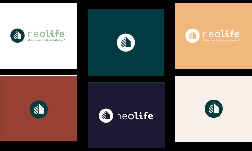 Logo Neolife sur différents fonds