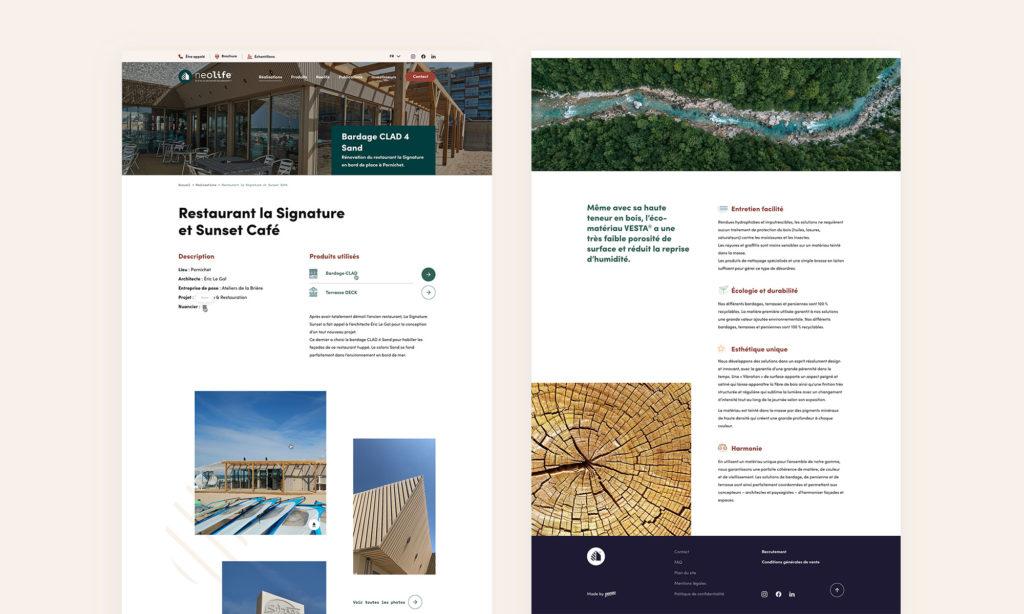 Aperçu du site Neolife - Page d'une réalisation et Qui sommes-nous ?